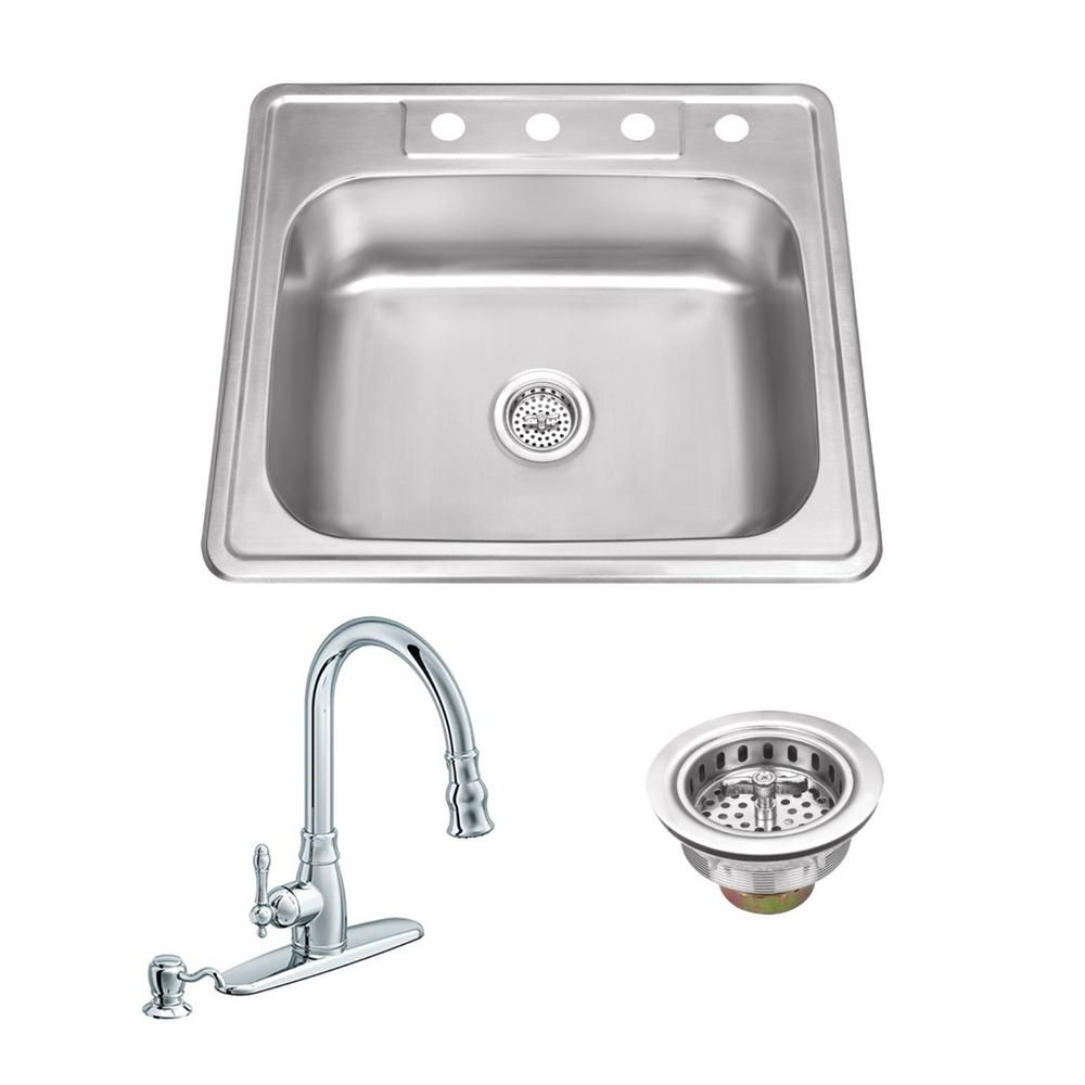 Ipt Sink Company All In One Drop In Stainless Steel 25 In 4 Hole