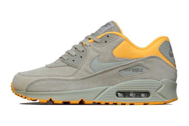 Nike Air Max 90 Premium Pale Grey/Laser Orange