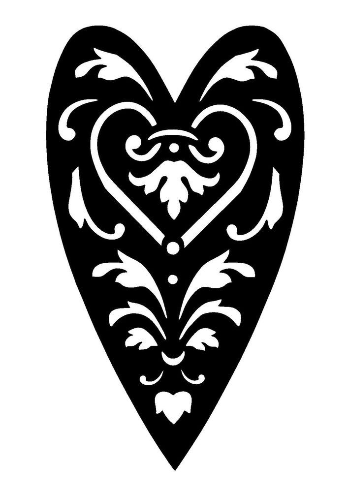 Vintage heart stencil template 3 craft,fabric,glass,furniture,wall ...