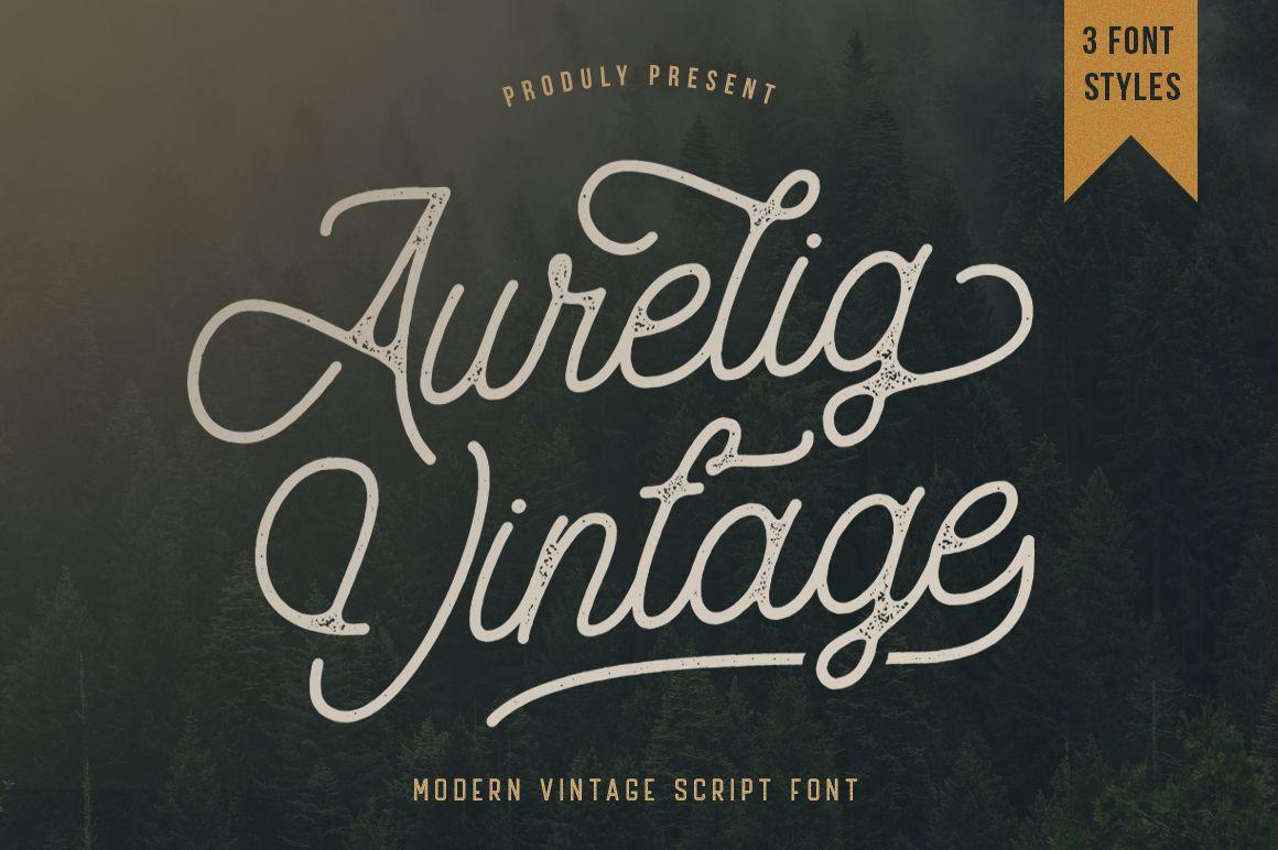 Aurelig Vintage Font By Vultype Creative Fabrica In 2020 Vintage Script Fonts Vintage Fonts Script