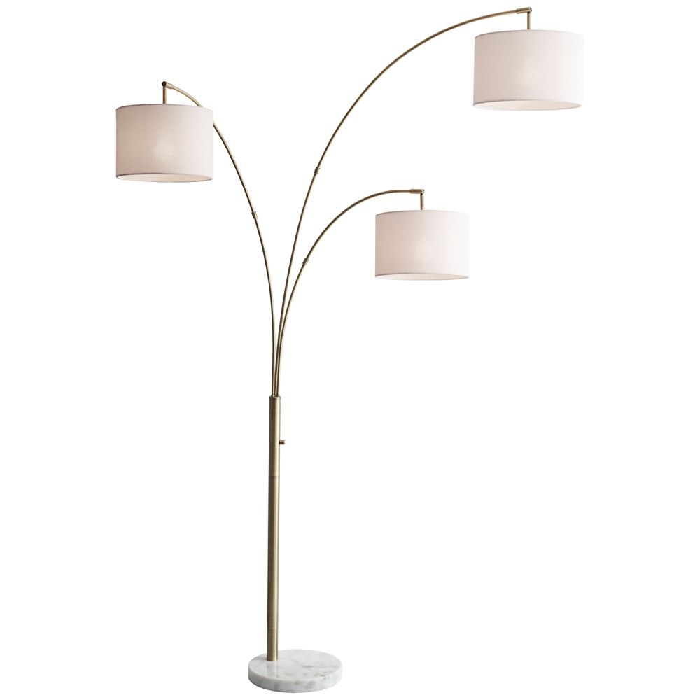 Bowery Antique Brass Adjustable 3 Arm Arc Floor Lamp Style 12w14