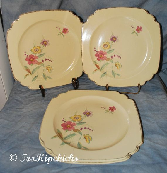 Homer Laughlin Square Luncheon Plates With Flowers and Wells Peacock Mark My Grandmother had a set of dishware like this including soup tureen. & 1930\u0027s Homer Laughlin Square Luncheon Plates With by TooHipChicks ...