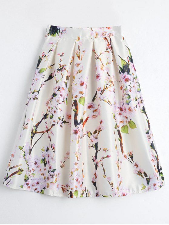 Floral Printed A Line Skirt - BEIGE ONE SIZE