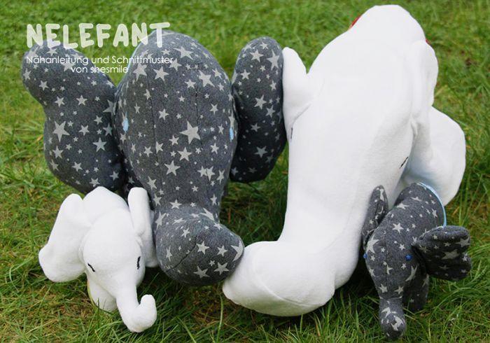 Elefanten-Kuscheltier - Nelefant (Nähanleitung und Schnittmuster von shesmile)