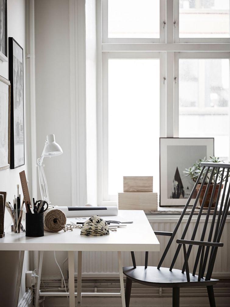 home office Casa Pinterest White floor lamp, Living room