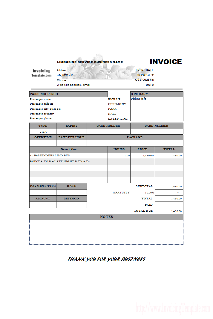 Limousine Service Invoice Template With Notes Field  Neha Joshi