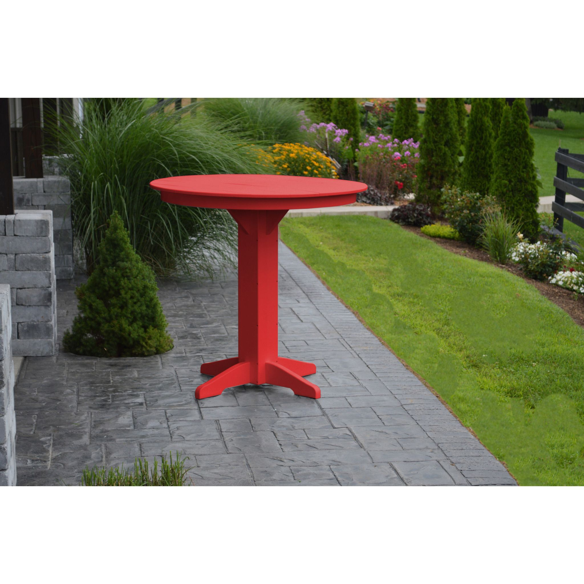 "A & L Furniture Recycled Plastic 44"" Round Bar Table"