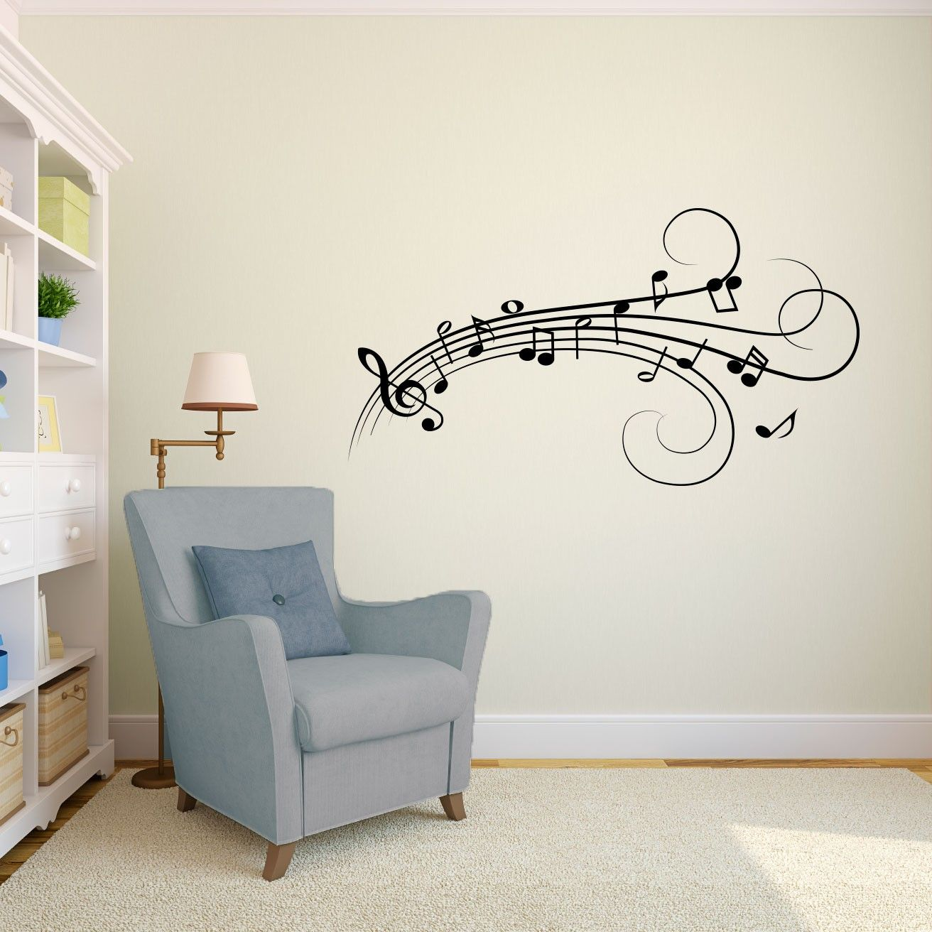 music notes vinyl wall art decal for homes offices on wall stickers id=11931