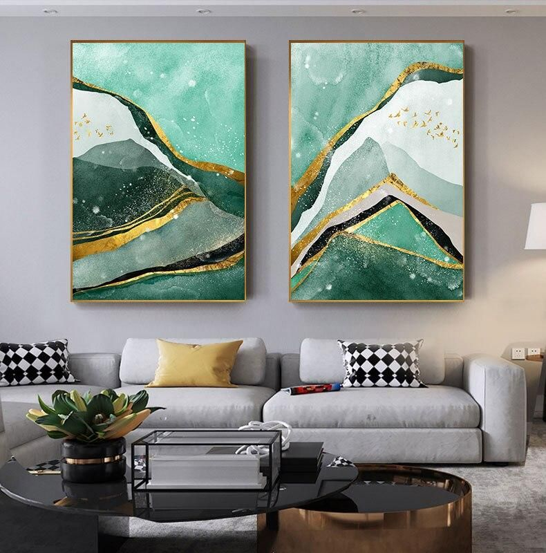Modern Abstract Golden Green Marble Wall Art Contemporary Nordic