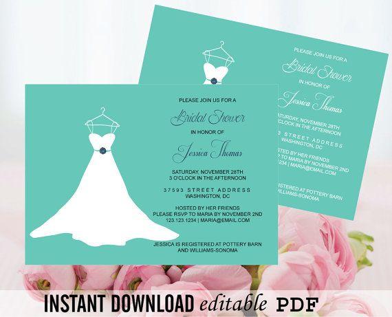 Wedding Gown Bridal Shower Invitation Editable PDF Template - 5x7 - bridal shower template