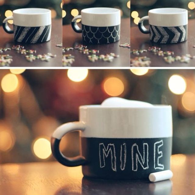 smart idea porcelain coffee mugs. DIY chalkboard paint mugs  Cute last minute holiday gift idea directions at the link Very smart and cool gave two for Caseys Bridal shower black
