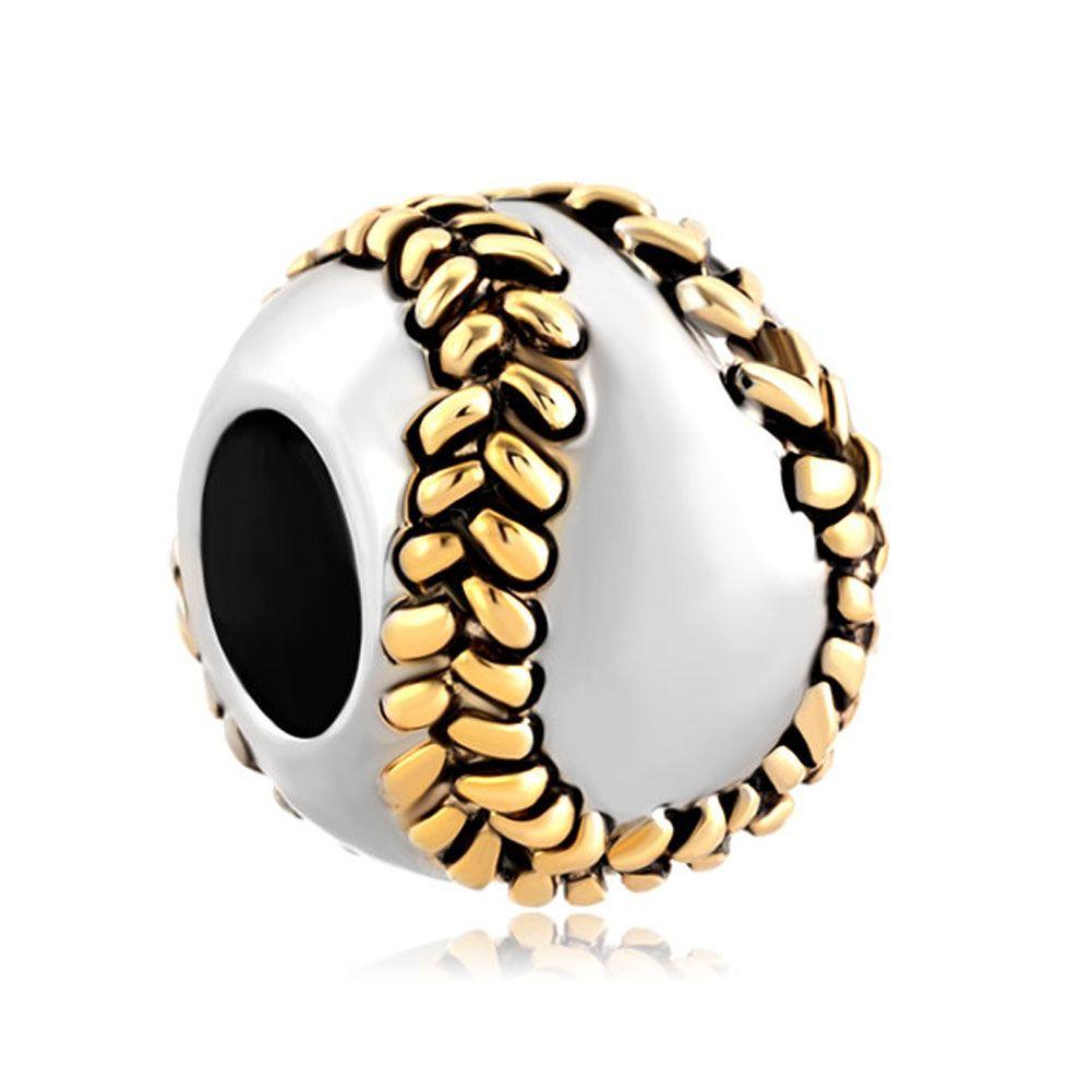 Charms Beads Silver Baseball I Love Sports For Bracelets Image