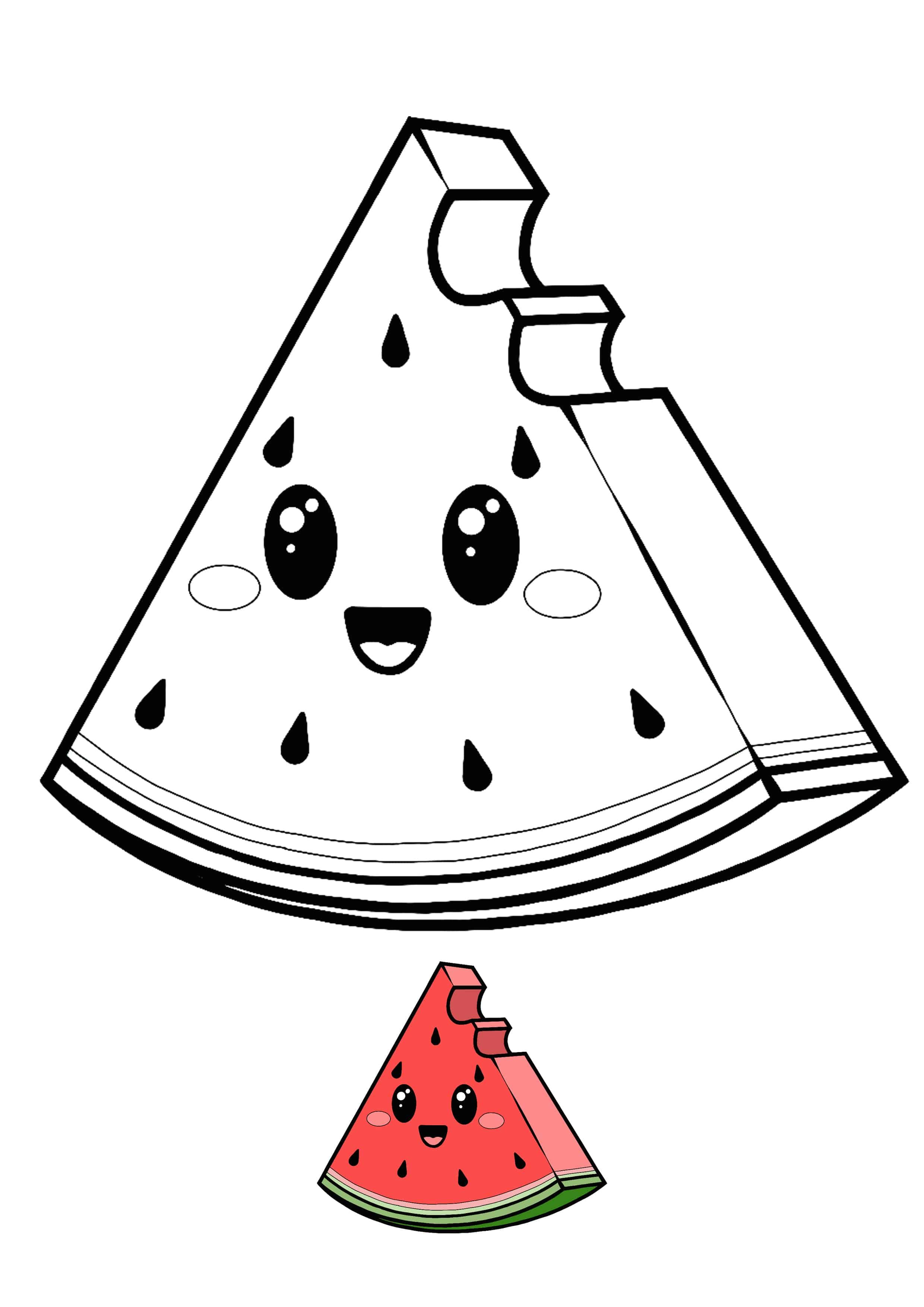 Kawaii Watermelon coloring page for boys and girls  Cute coloring