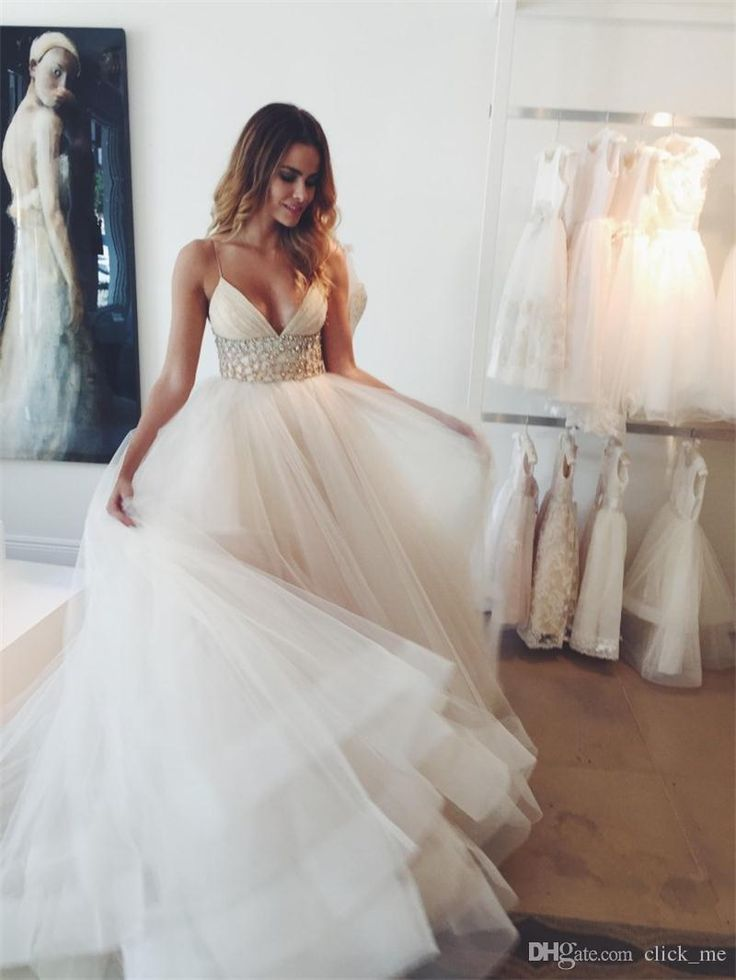 Beach Wedding Dresses 2016 Modest Spaghetti Strap Sash Beads Sequins Cheap Bridal Dress Tulle Tutu Layers Zipper Back Bohemia Gowns