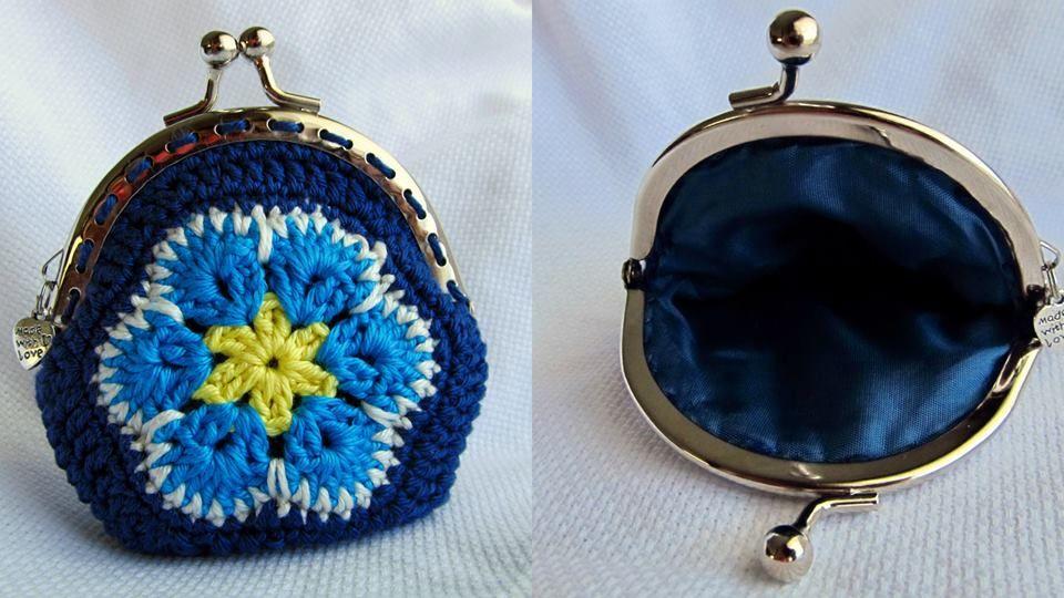 Flor Africana, em tons azuis Vintage Coin Purse African Flower Blue