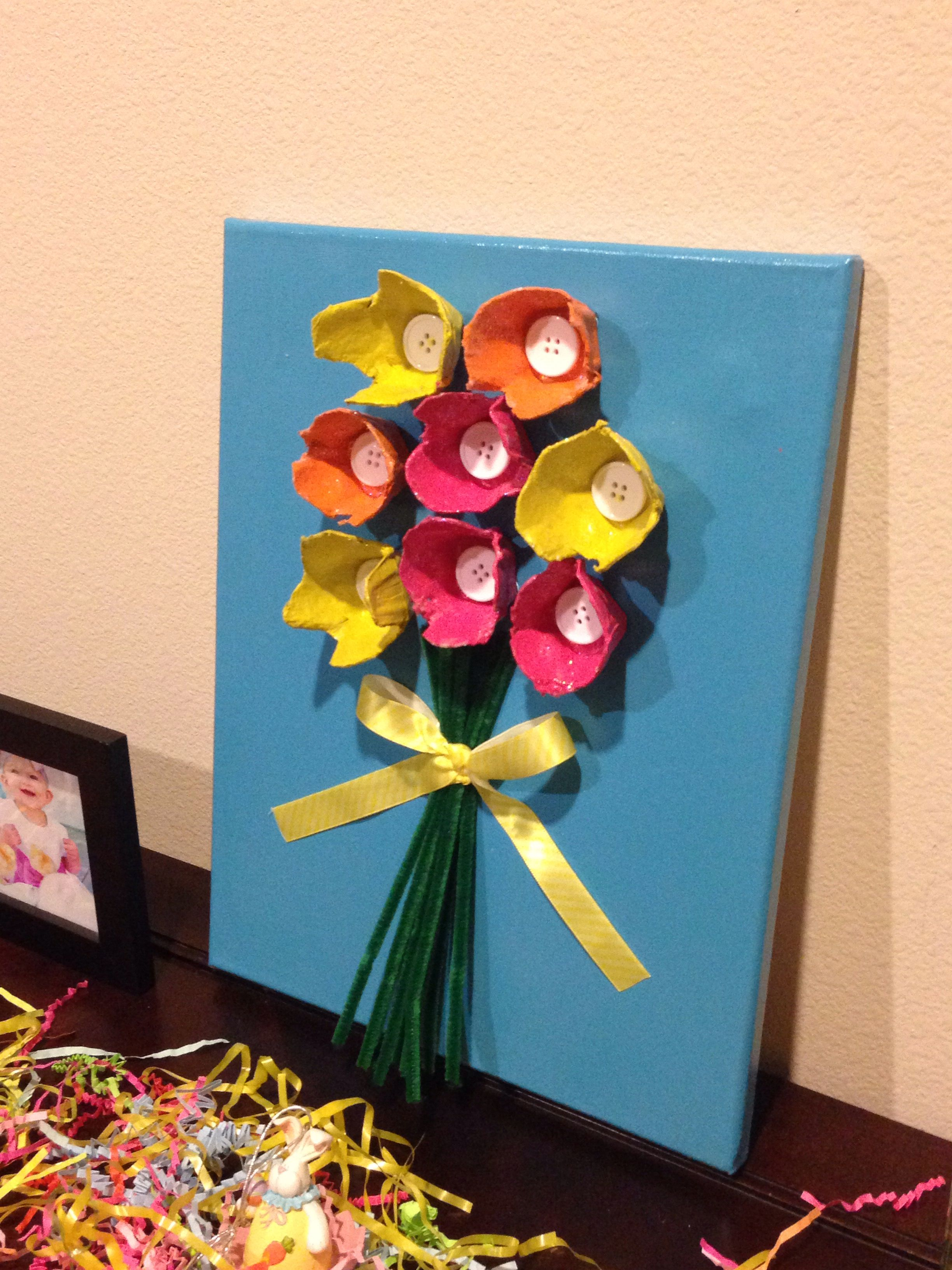 Kids will love this egg carton art egg cartons painted canvas craft negle Image collections