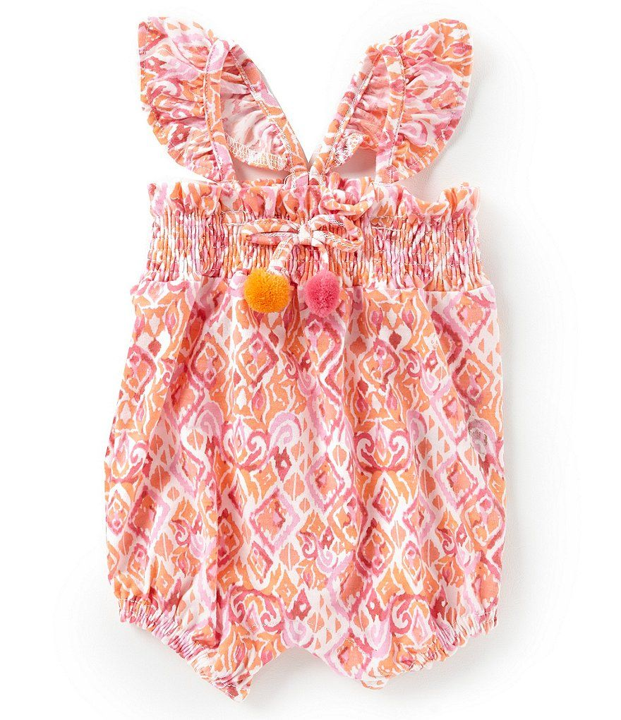 22f911333439 Jessica Simpson Baby Girls Newborn-9 Months Tropical Print Romper ...