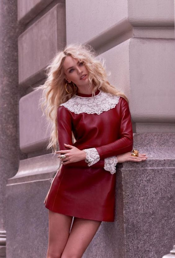 Red veggie leather mini dress with white lace trim around neckline and cuffs.. DIY the look yourself: http://mjtrends.com/pins.php?name=red-veggie-leather-for-dress,jpg