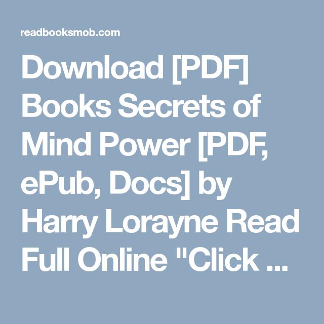 Power secrets harry download of mind lorayne