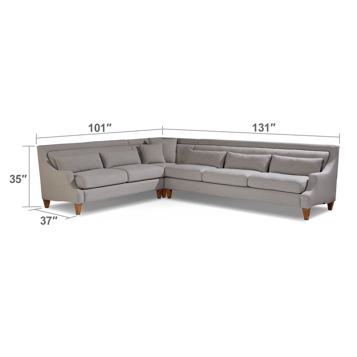 Living Room Furniture Chisel 3 Piece Sectional Flannel Gray