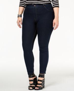 Hue Women's Plus Size Essential Denim Skimmer Leggings - Blue