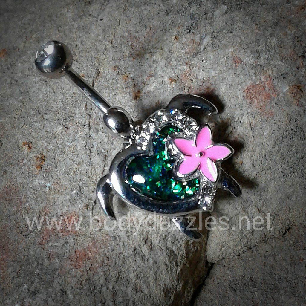 Piercing on belly  Cute Kauai Flower Turtle Belly Button Ring Navel Ring Body Jewelry