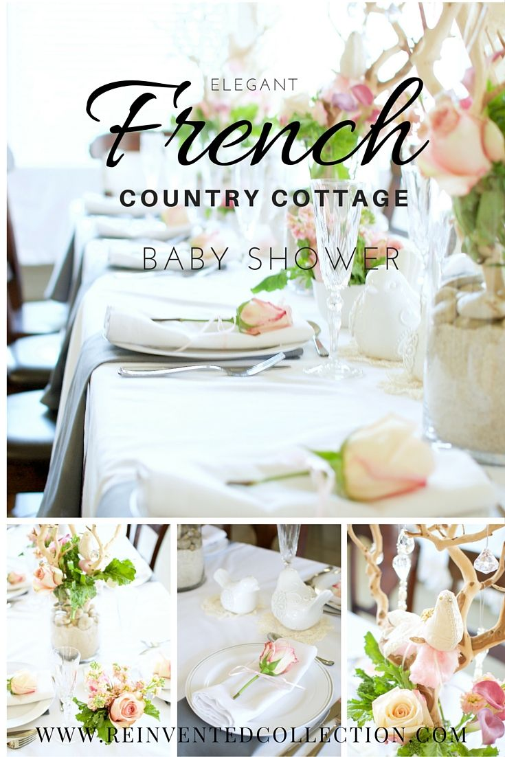 French Country baby shower decor ideas. Elegant French chic, pink and white baby  shower with rustic chic touches for a sweet mom to be.