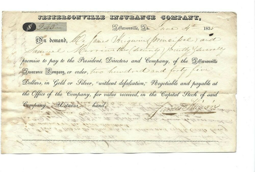 1835 Jeffersonville Insurance Company Jeffersonville In Payment