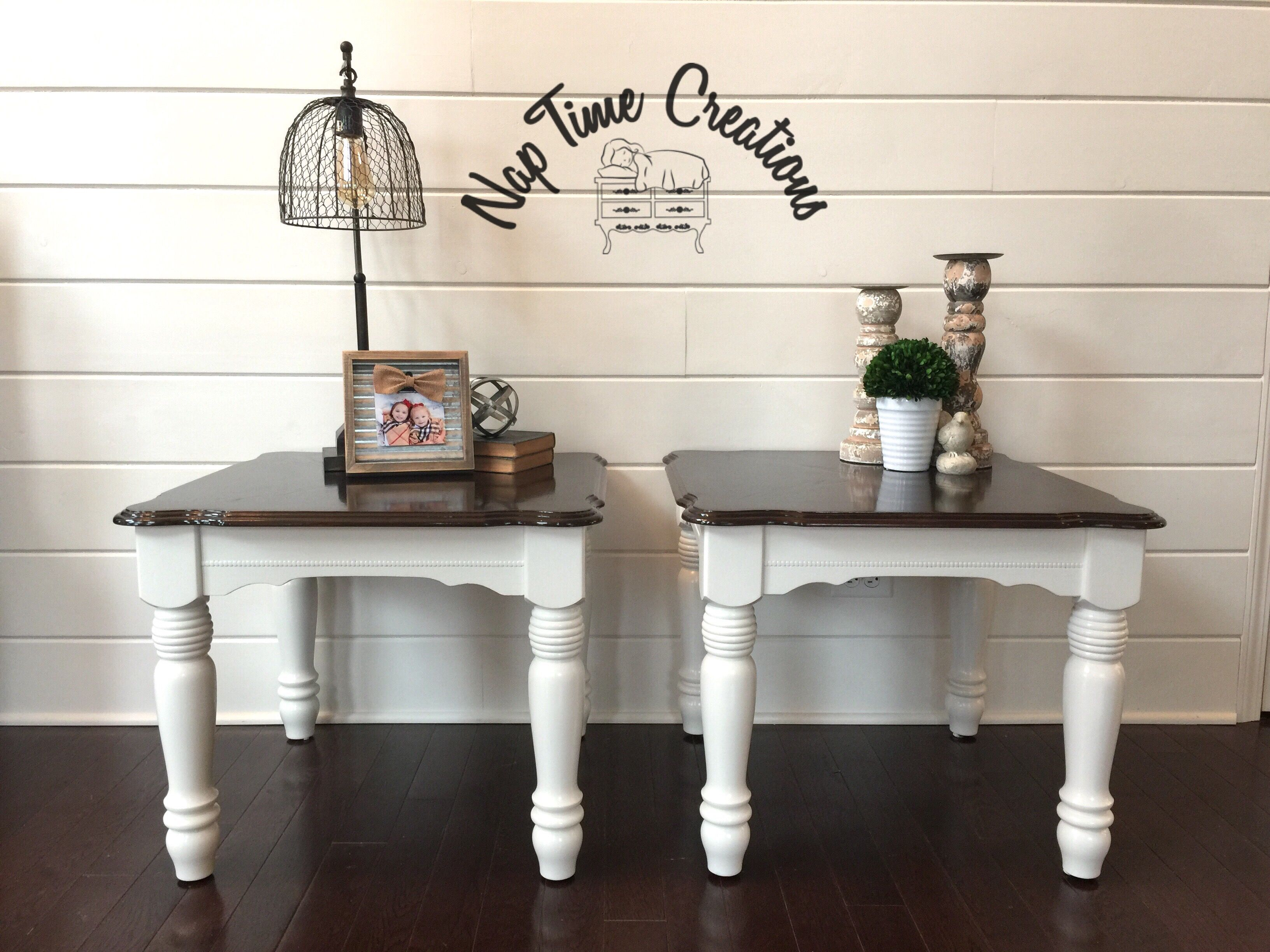 End table refinished in general finishes antique white and