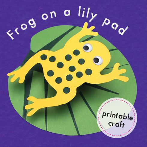 Frog on a lily pad with printable template