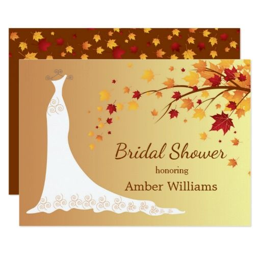 falling autumn leaves wedding gown bridal shower card