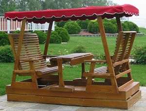 Double Canopy Glider With Table Outdoor Living Landscape
