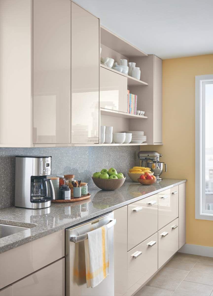 Create A Sleek Modern Kitchen With The Lacombe Avenue High Gloss Sharkey Gray Be Sure To A Cozinhas Modernas Cozinhas Domesticas Decoracao Cozinha Pequena