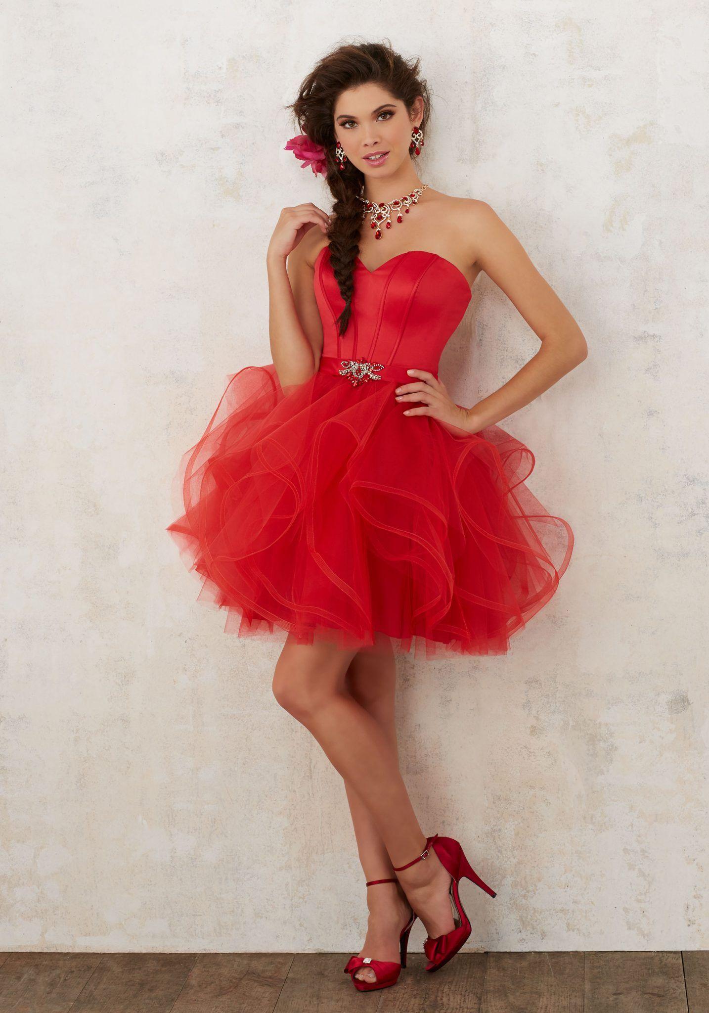 2020 Klos Abiye Elbise Kisa Gece Elbiseleri Kirmizi Straplez Kabarik Tul Etek Beli Kemerli Quinceanera Dresses The Dress Mezunlar Gecesi Elbiseleri