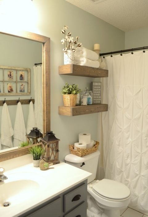 Decorating Shelves Floating In The Bathroom