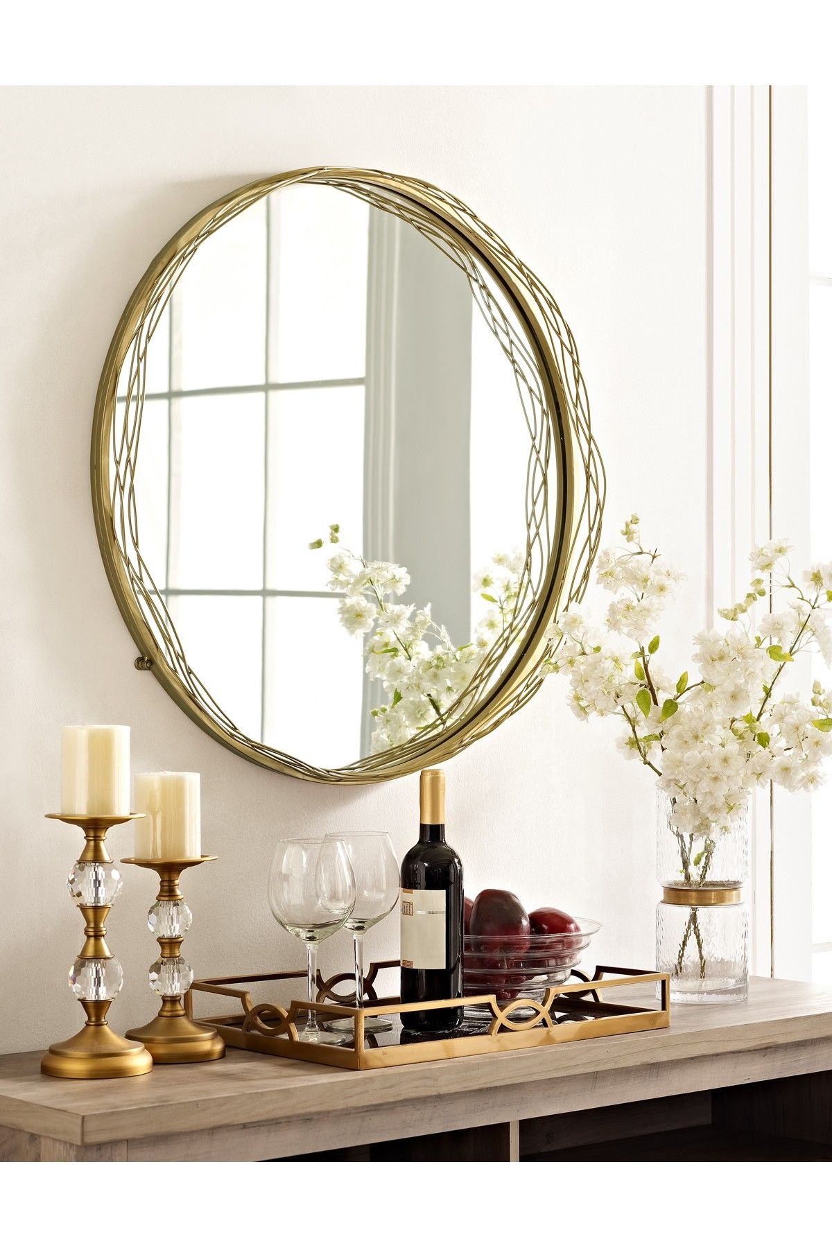 """Walker Edison Furniture pany 32"""" Round Gold Mirror with Wire Nest"""