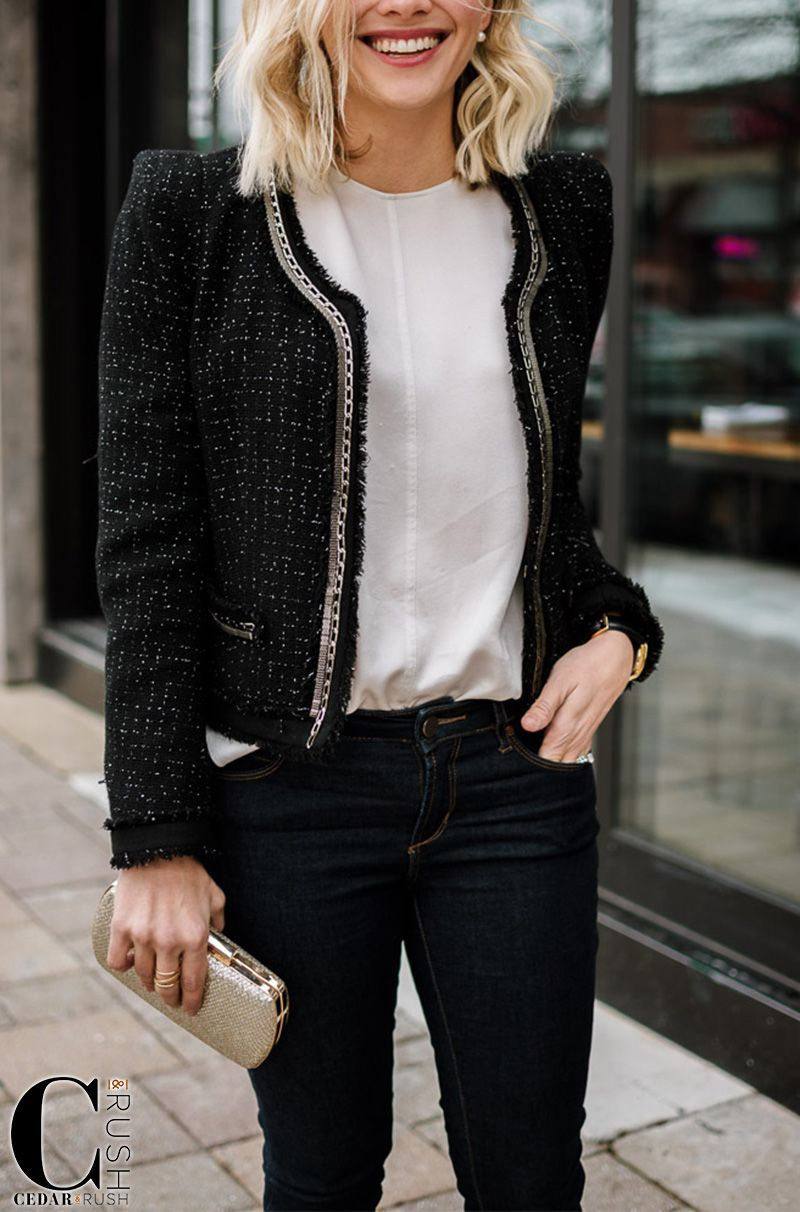 My Total Outfit Details Vince Top Tweed Blazer