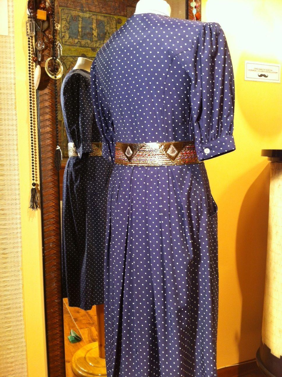 vestido azul lunares blancos corte a la cintura   Verano Woman ...