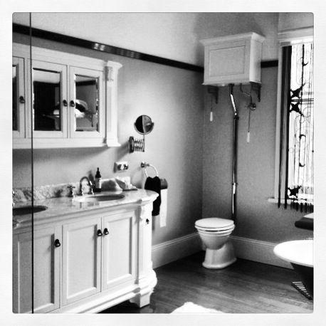 Manhattan White Vanity With High Level Toilet, Manhattan Medicine Cabinet  And Scissor Mirror All From
