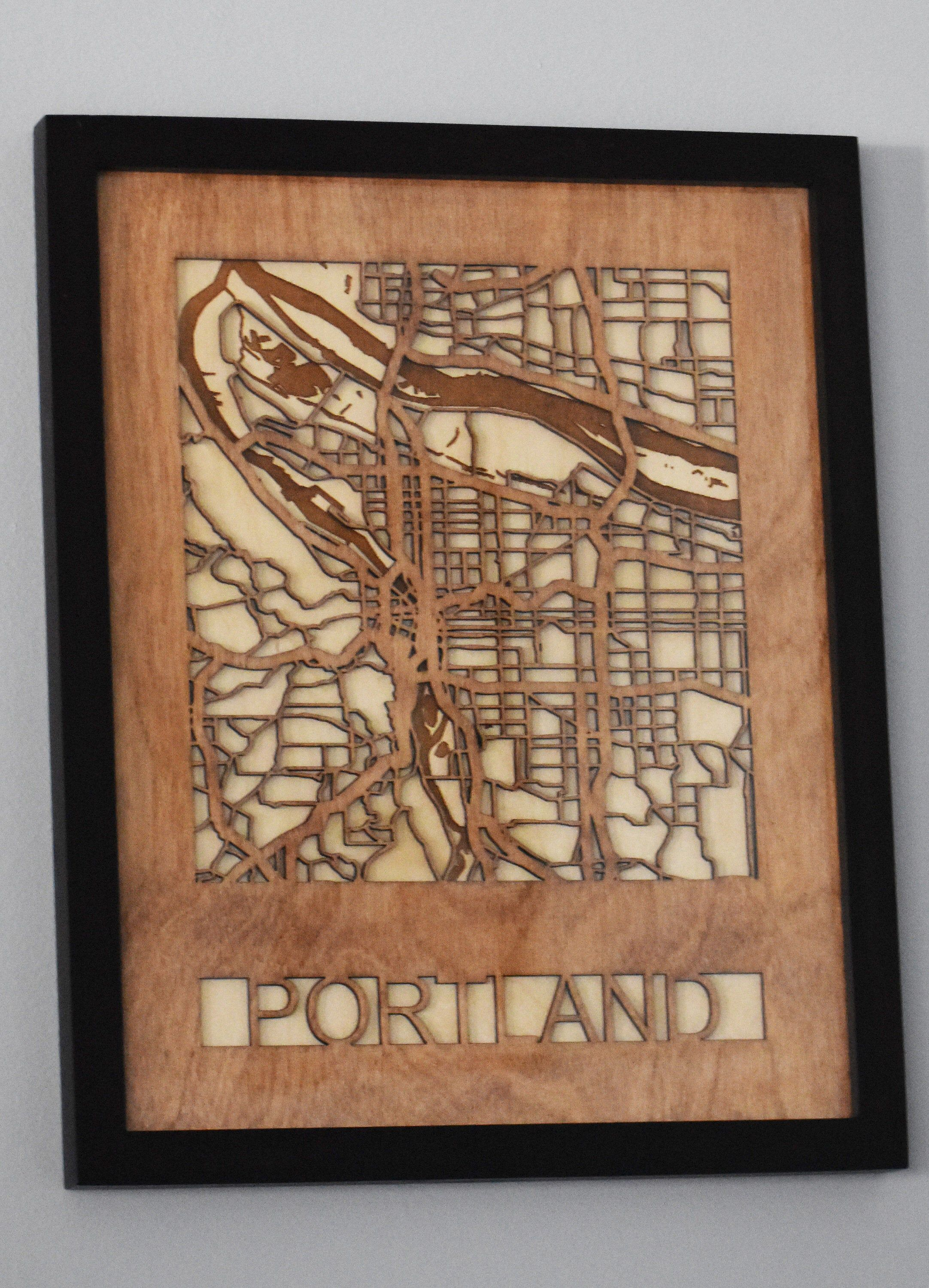 Excited To Share The Latest Addition To My Etsy Shop Wooden Map Portland Portland Maps Glowforge In 2020 Wooden Map Wooden Street Map