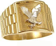 14k Yellow Gold White Rhodium Gent Men Man Guy Square Shape Eagle Ring