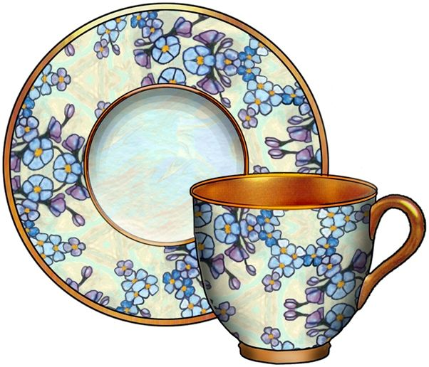 artbyjean blog cup and saucer | Bells, Bottles, Cups and Saucers, Bucket - CD-M10 - Forget-Me-Nots