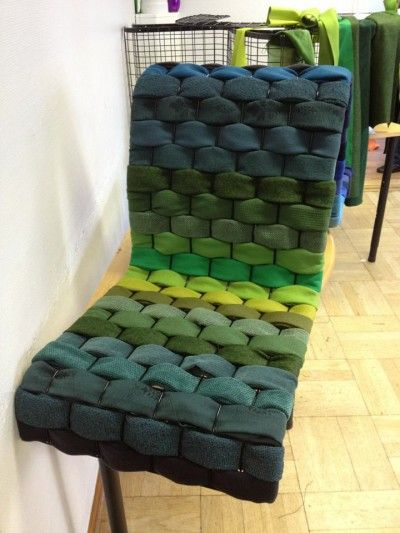 Chairs Made From Recycled Fabric By Weaving Strips Of Thick Fabric Through  A Steel Mesh Construction