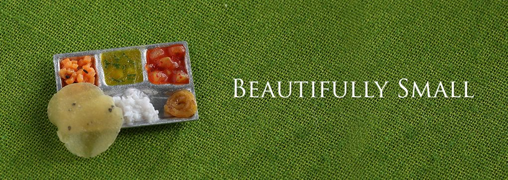 Miniature Indian thali. For more miniature food, visit - www.charmingminiatures.com