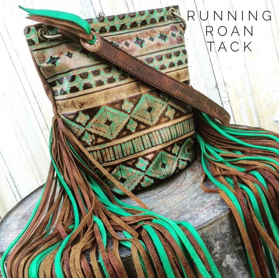 Aztec Bucket Bag with Ridiculously Long Two-Tone Fringe by Running Roan Tack