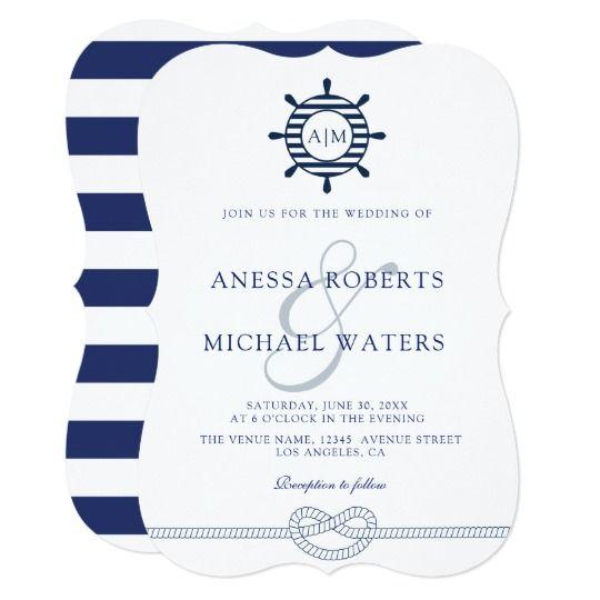 Elegant Nautical Wedding Invitations: Elegant Nautical Wedding Invitation