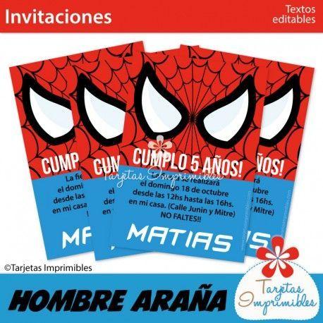 Hombre Araña Invitaciones Ojos Invitaciones Hombre Araña