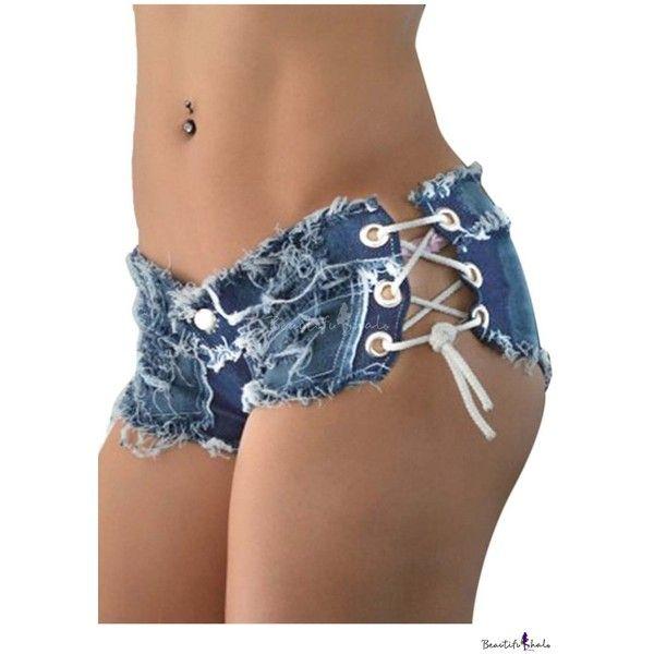 f83343fe77 Sexy Women Denim Jeans Shorts Short Hot Pants Low Waist Side Straps ...