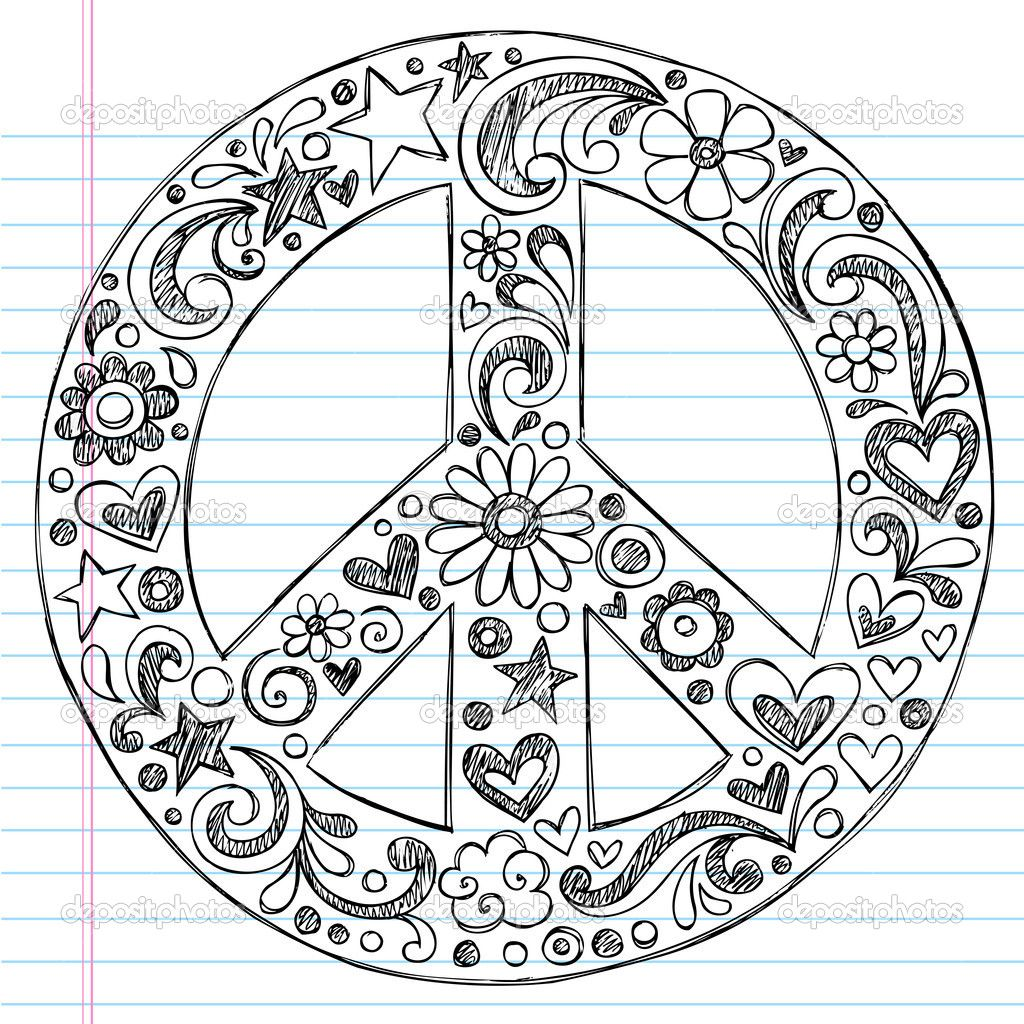 Love Designs To Draw | Hand-Drawn Sketchy Doodle Peace Sign — Stock ...