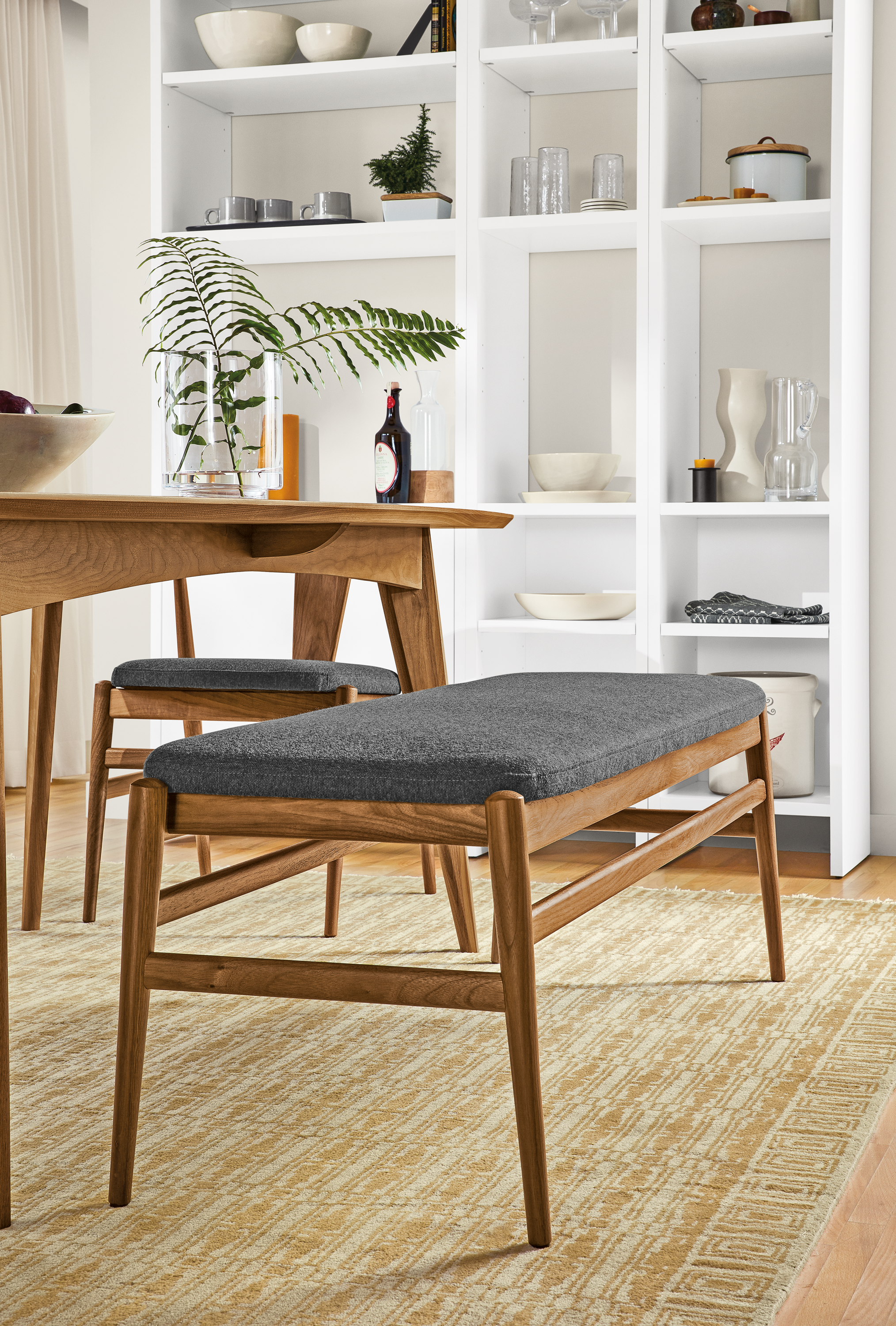 Evan Bench With Fabric Seat Modern Benches Modern Dining Room